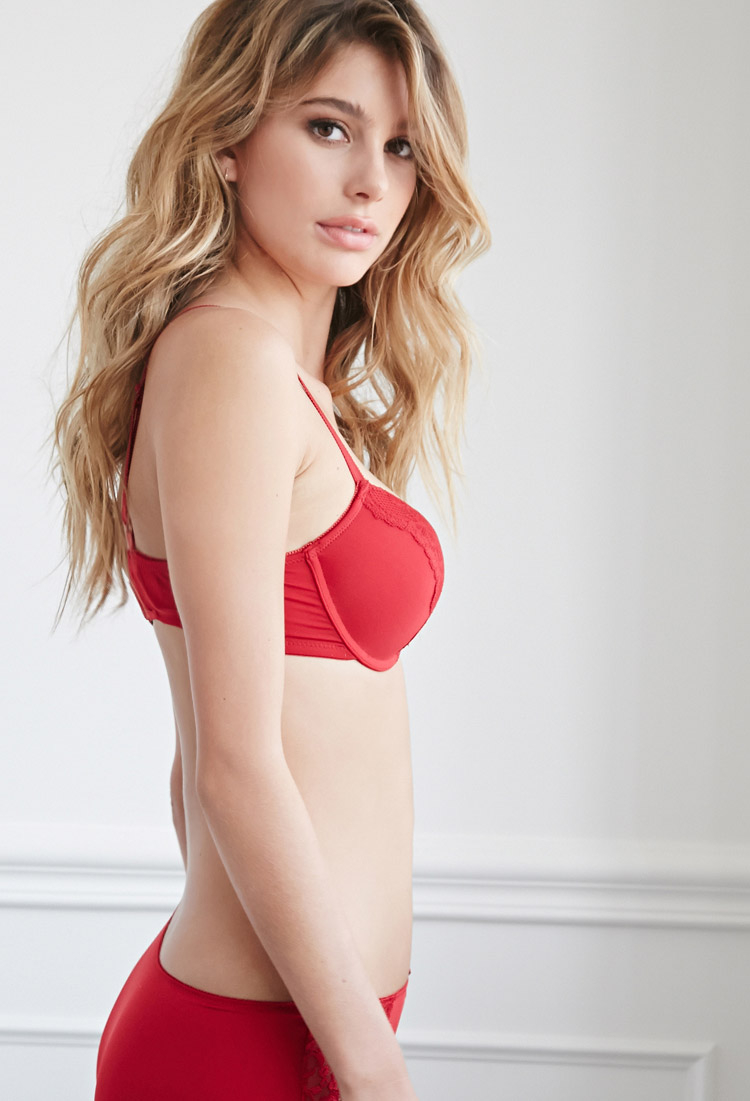 93b8be4a4 Forever 21 Lace-paneled Light Push-up Bra in Red - Lyst