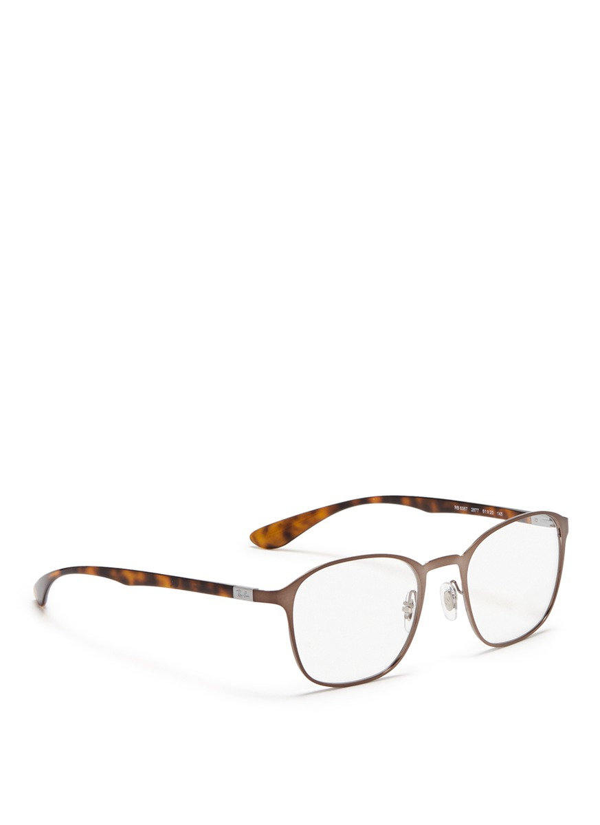 Lyst - Ray-Ban Square Metal Frame Optical Glasses in Gray for Men
