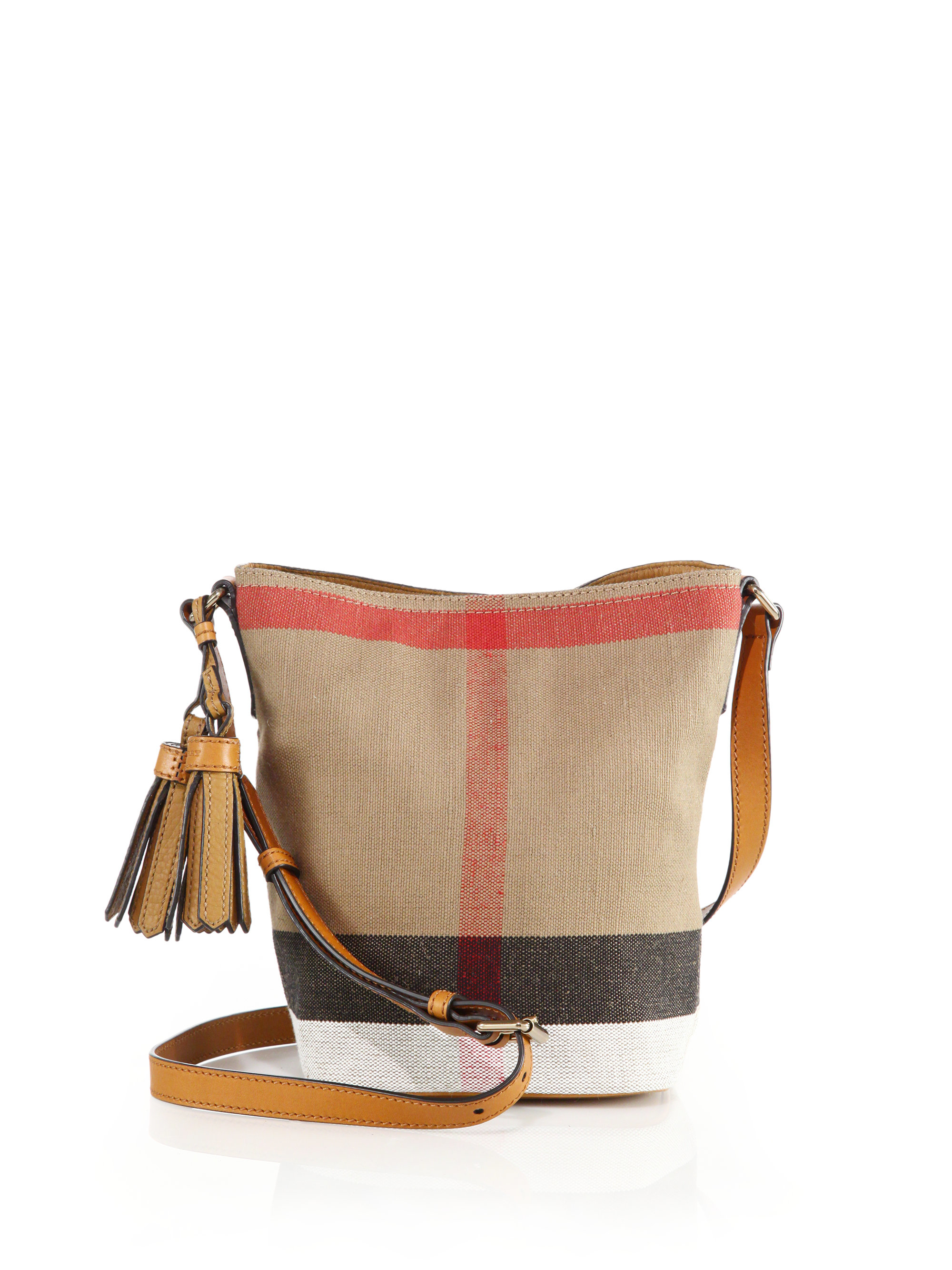 3379932f372a Lyst - Burberry Ashby Small Canvas Check   Leather Crossbody Bag in ...