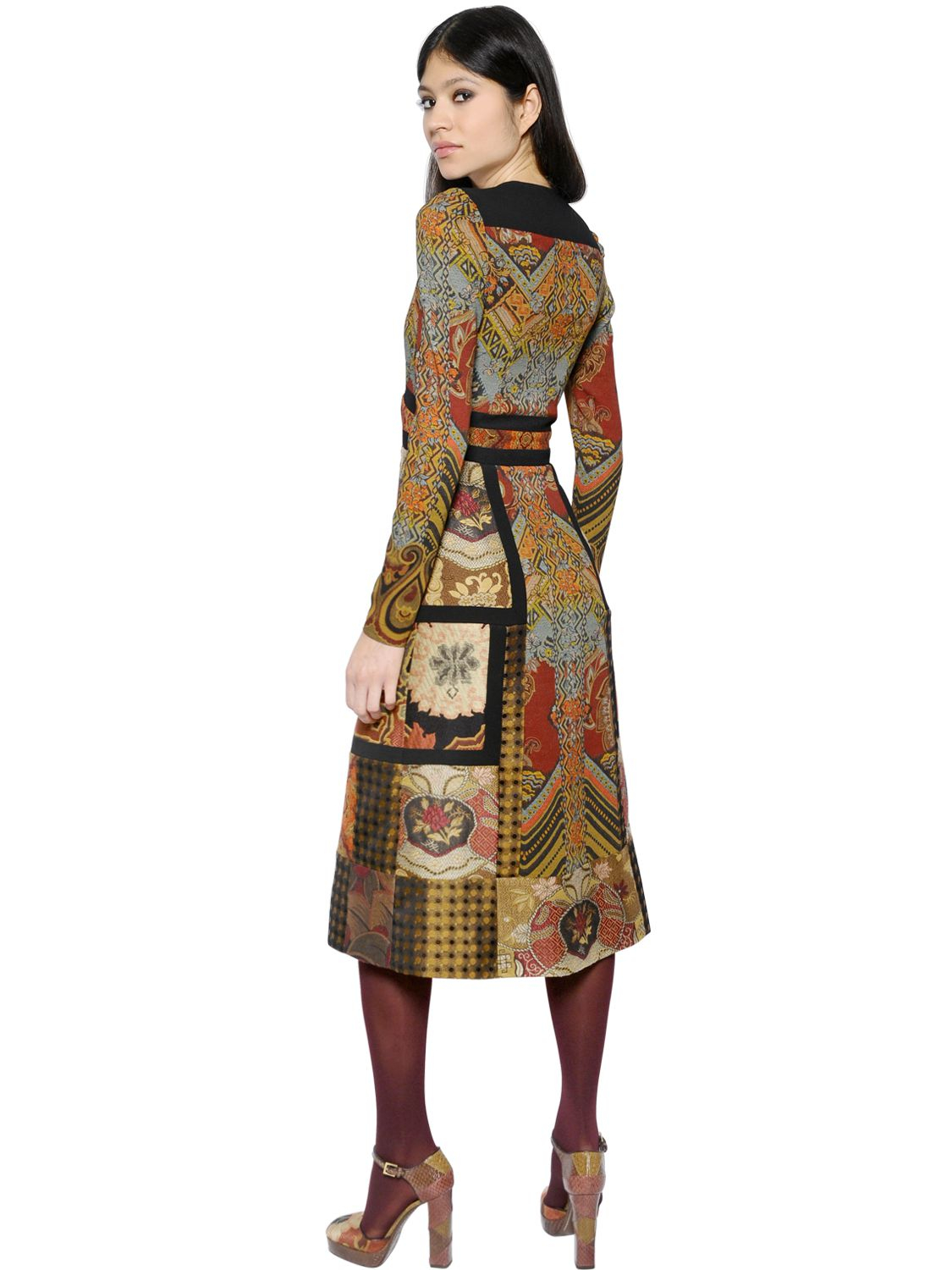 Lyst Etro Patchwork Printed Crepe Amp Brocade Dress