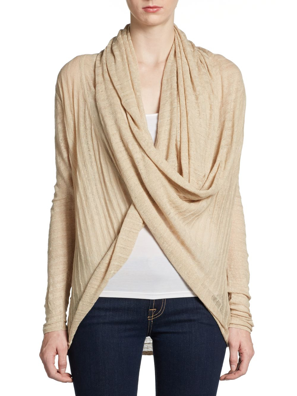 4ed68634d4 Alice + Olivia Draped Linen Wrap Cardigan in Natural - Lyst