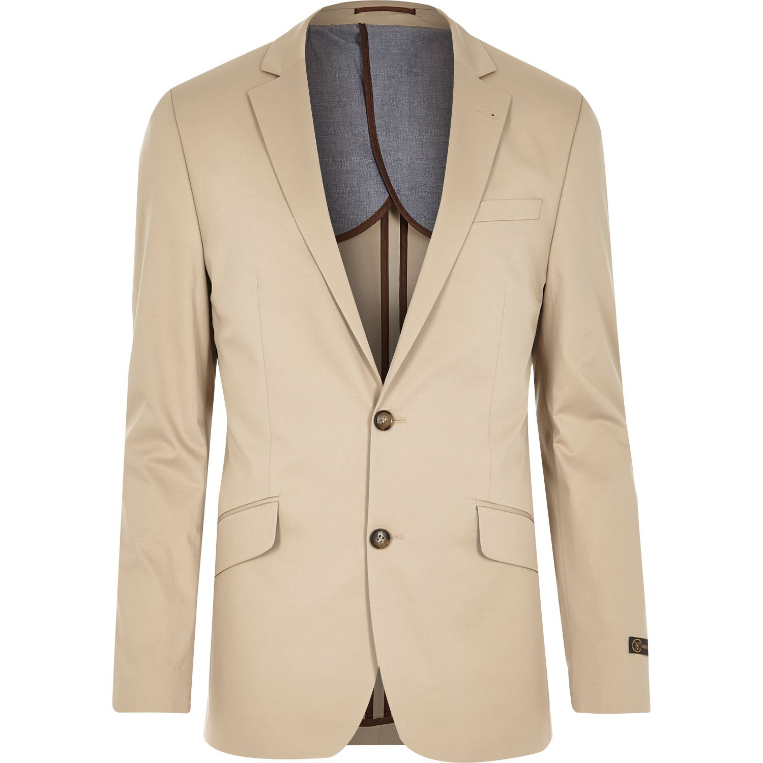 River island Cream Cotton Woven Skinny Suit Jacket in Blue for Men ...
