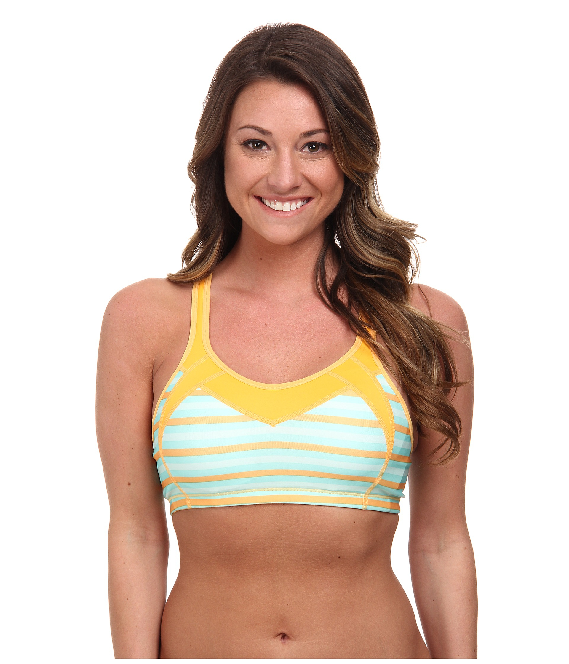 52276f6ed069c Lyst - Moving Comfort Urban X-Over A B Sports Bra in Blue