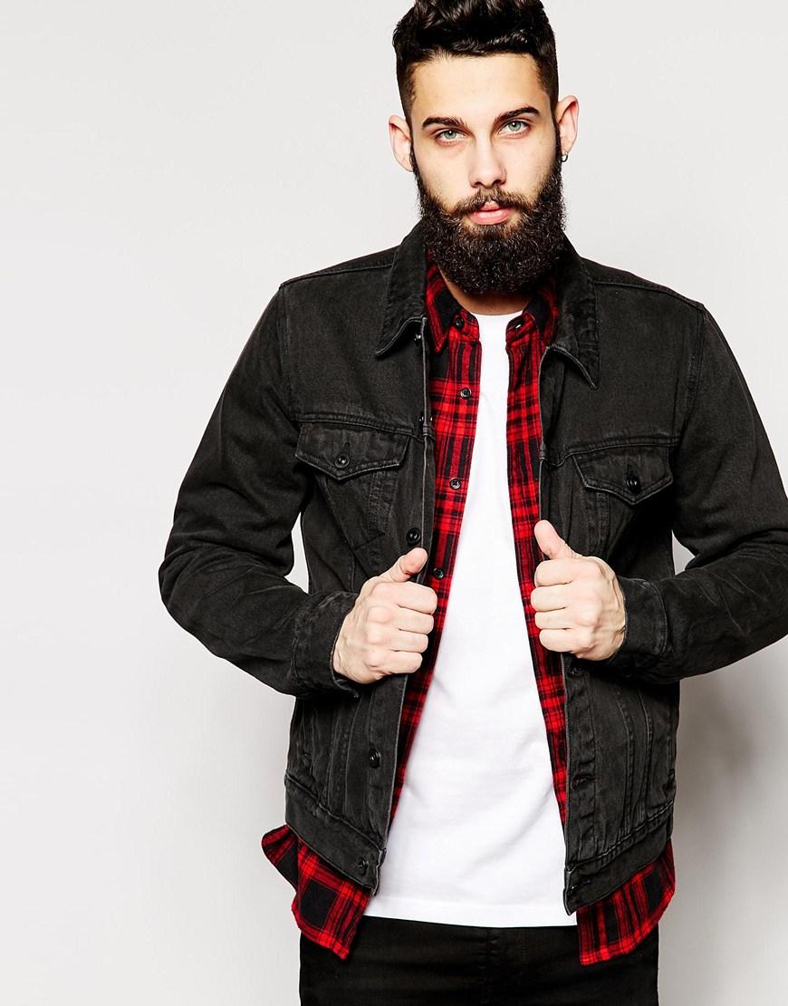 Lyst Asos Denim Jacket In Slim Fit In Black For Men