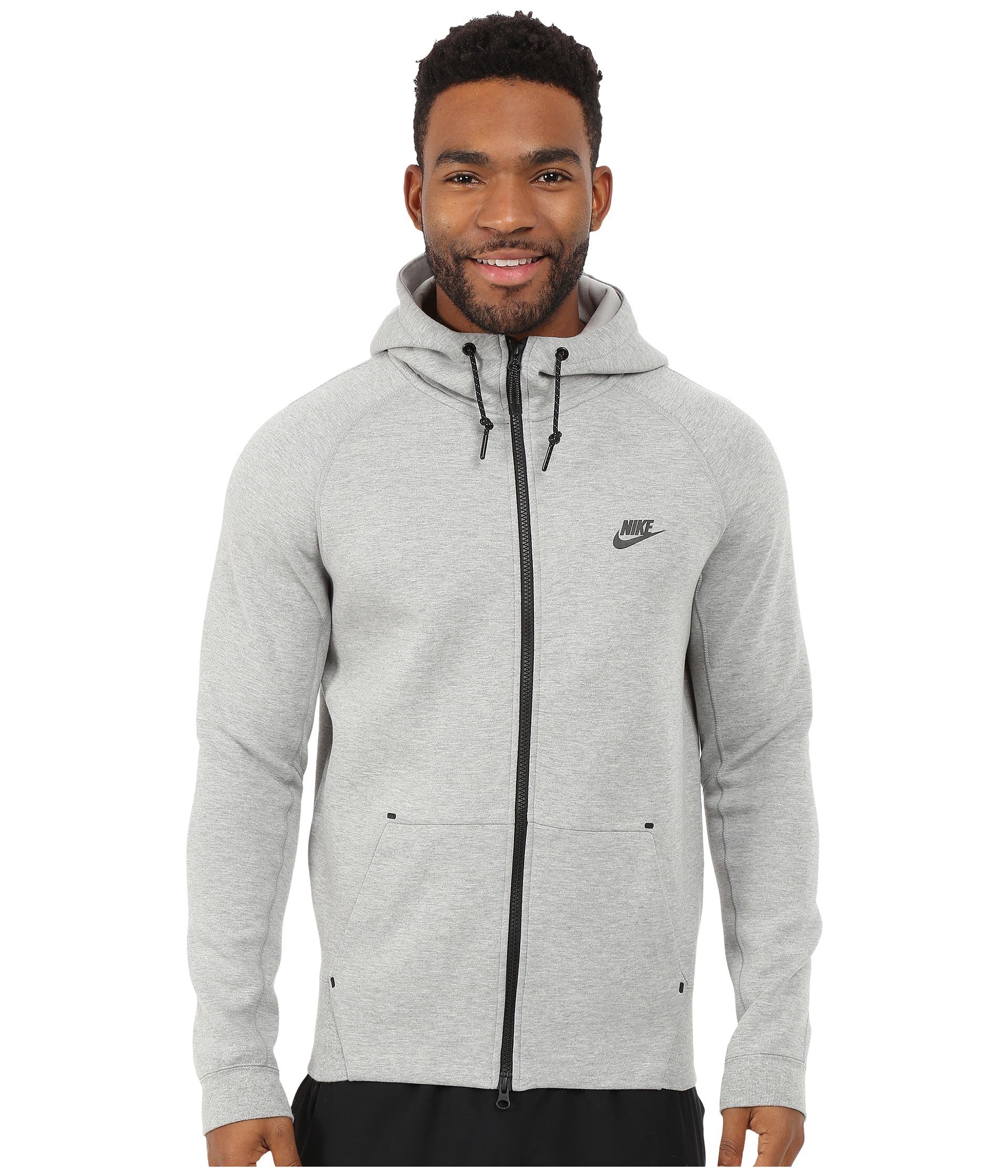 nike tech fleece aw77 1 0 full zip hoodie in gray for men. Black Bedroom Furniture Sets. Home Design Ideas