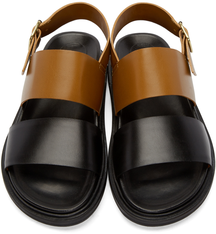 Lyst Marni Brown Amp Black Leather Sandals In Black For Men