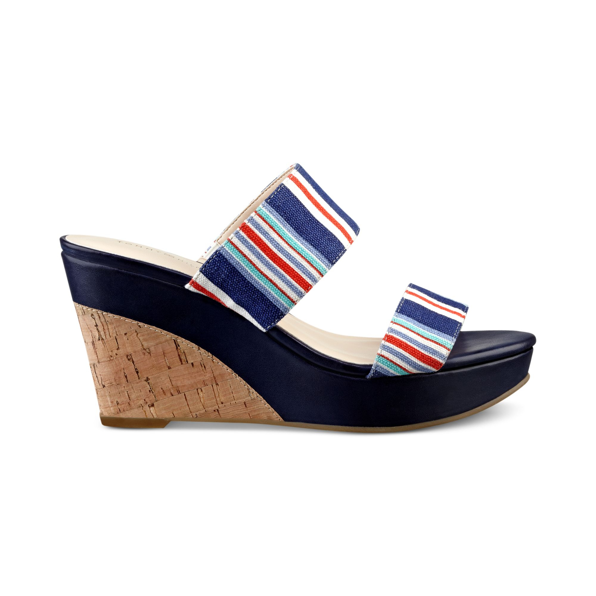 tommy hilfiger kadine platform wedge sandals in blue. Black Bedroom Furniture Sets. Home Design Ideas