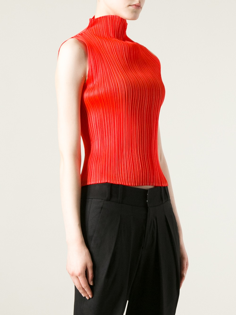 Pleats Please Issey Miyake Pleated Sleeveless Top In Red