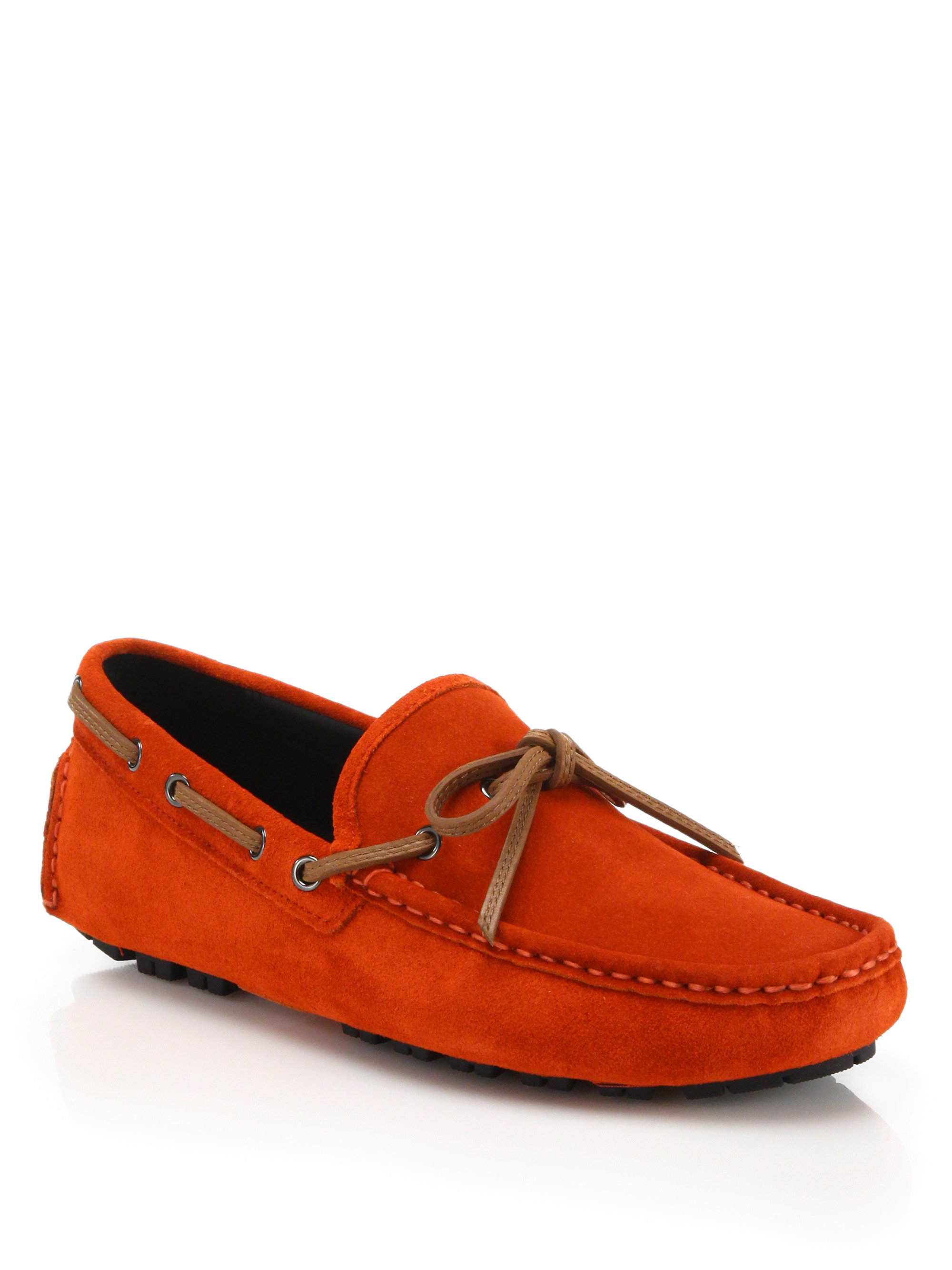 Coach Crosby Suede Driving Loafers In Red For Men Lyst