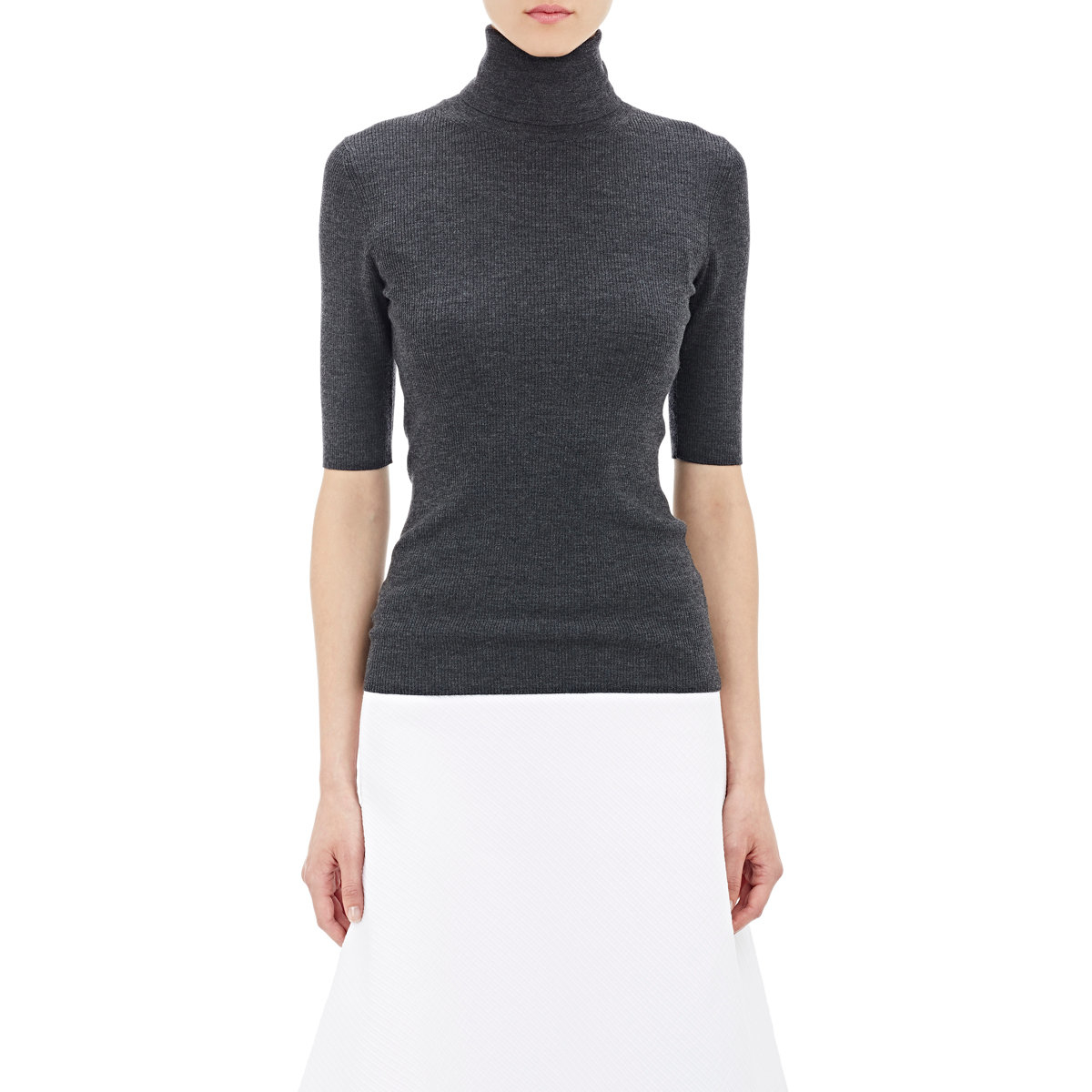 53d51e8e74d6f Lyst - Theory Leenda Turtleneck Short-sleeve Sweater in Black