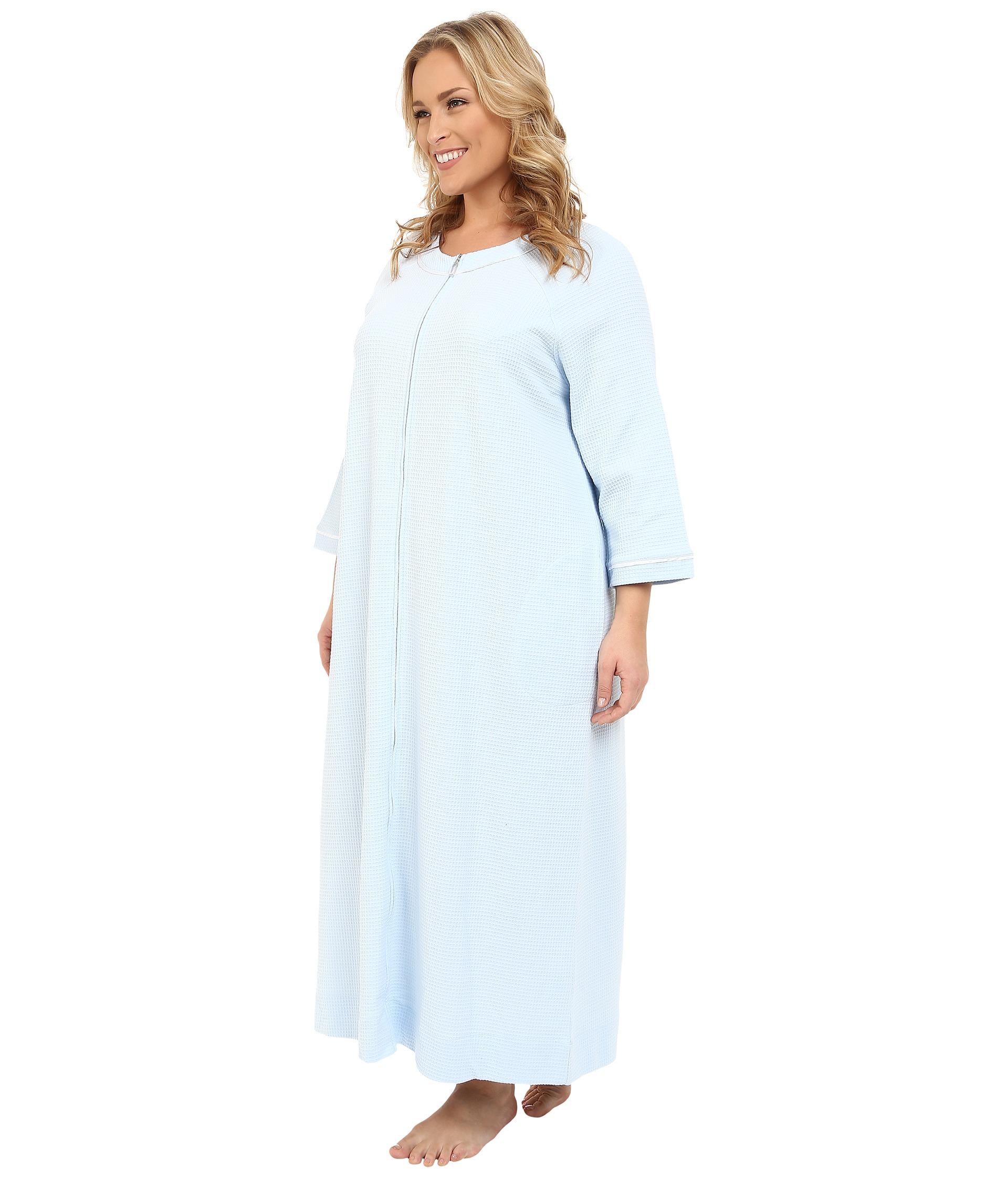 c54d4526a6 Lyst - Carole Hochman Plus Size Waffle Knit Zip Robe in Blue