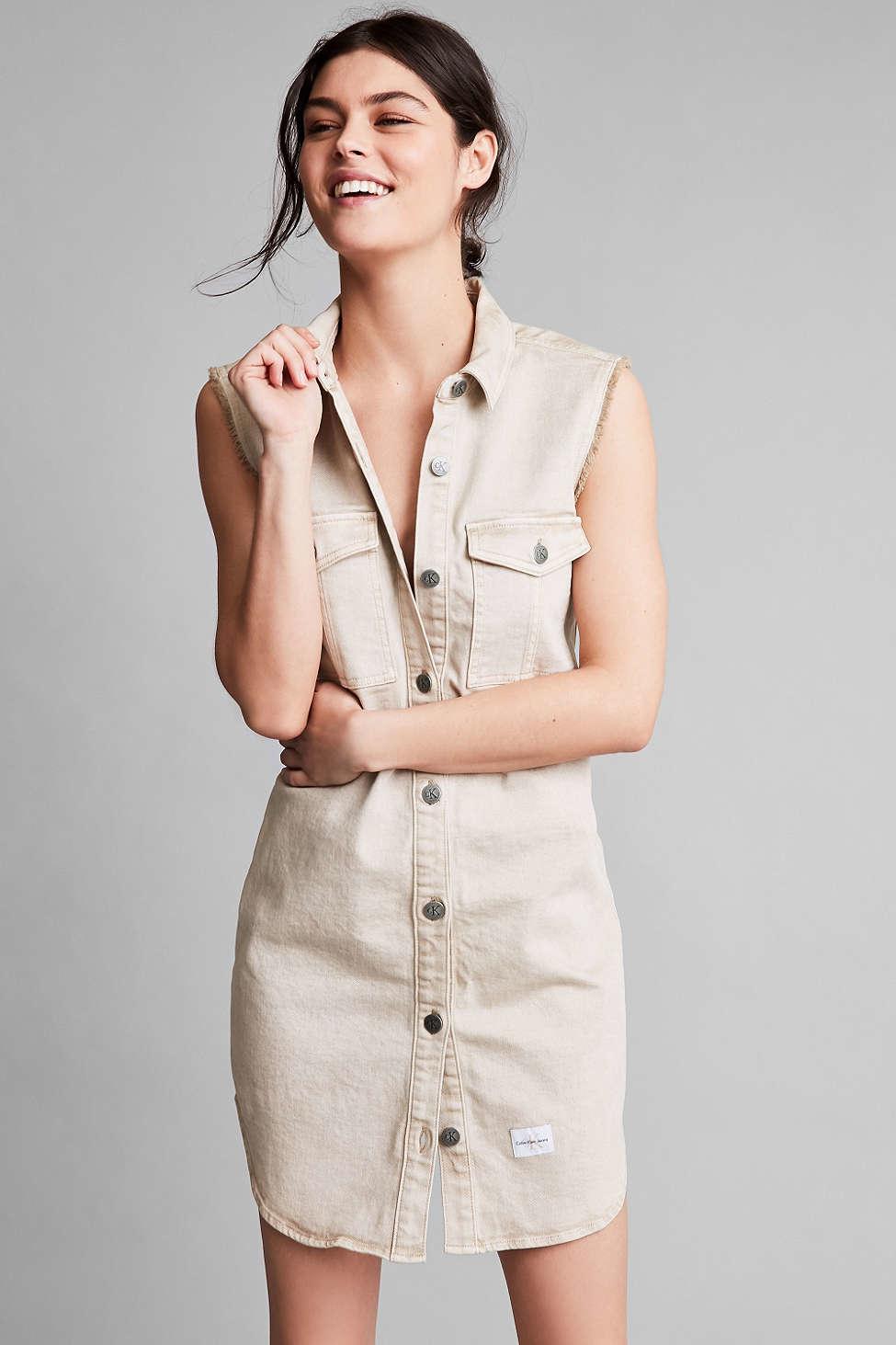 Lyst calvin klein for uo khaki sleeveless shirt dress in for Sleeveless dress shirt womens