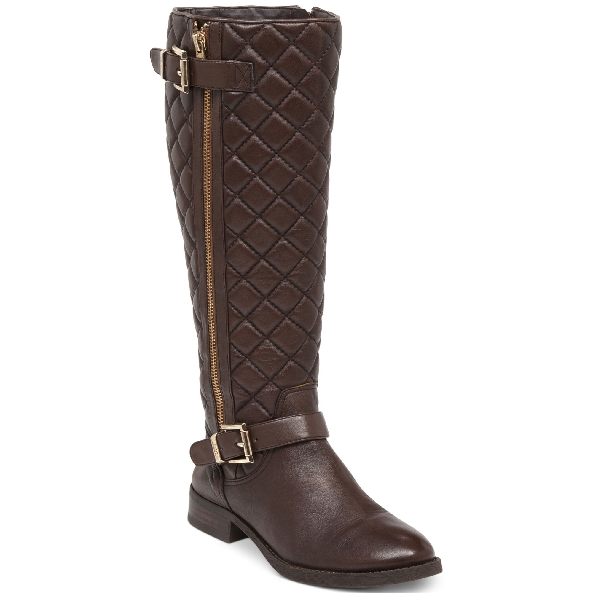 VINCE CAMUTO FREDRICA WIDE CALF QUILTED BROWN LEATHER RIDING BOOTS ...