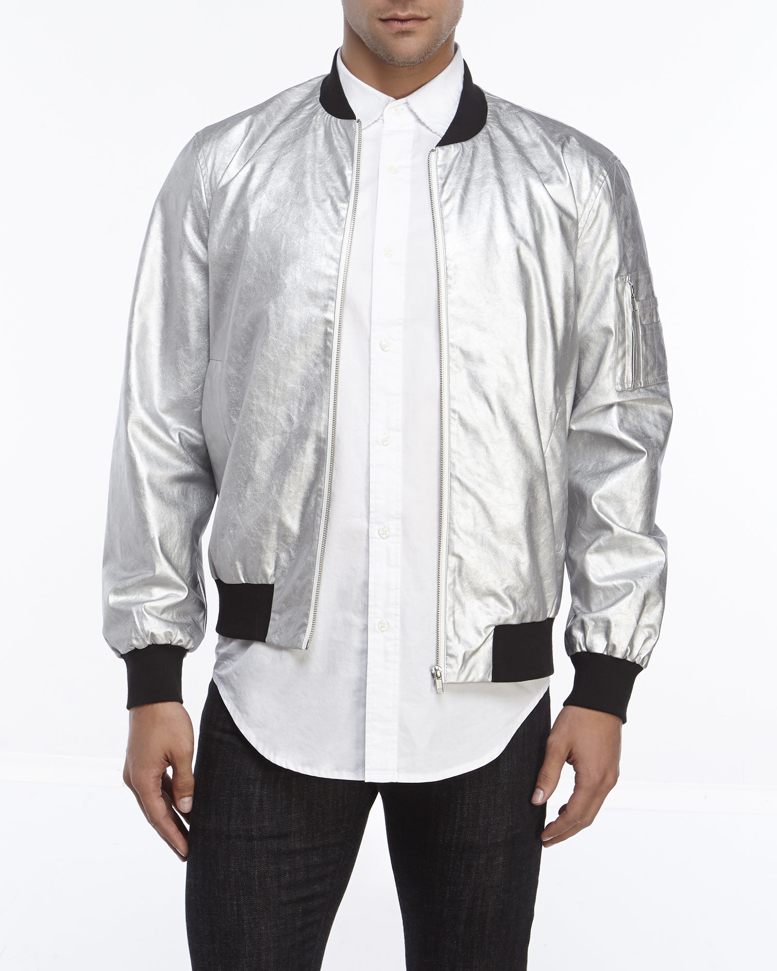 Shades of grey by micah cohen Metallic Bomber Jacket in Metallic