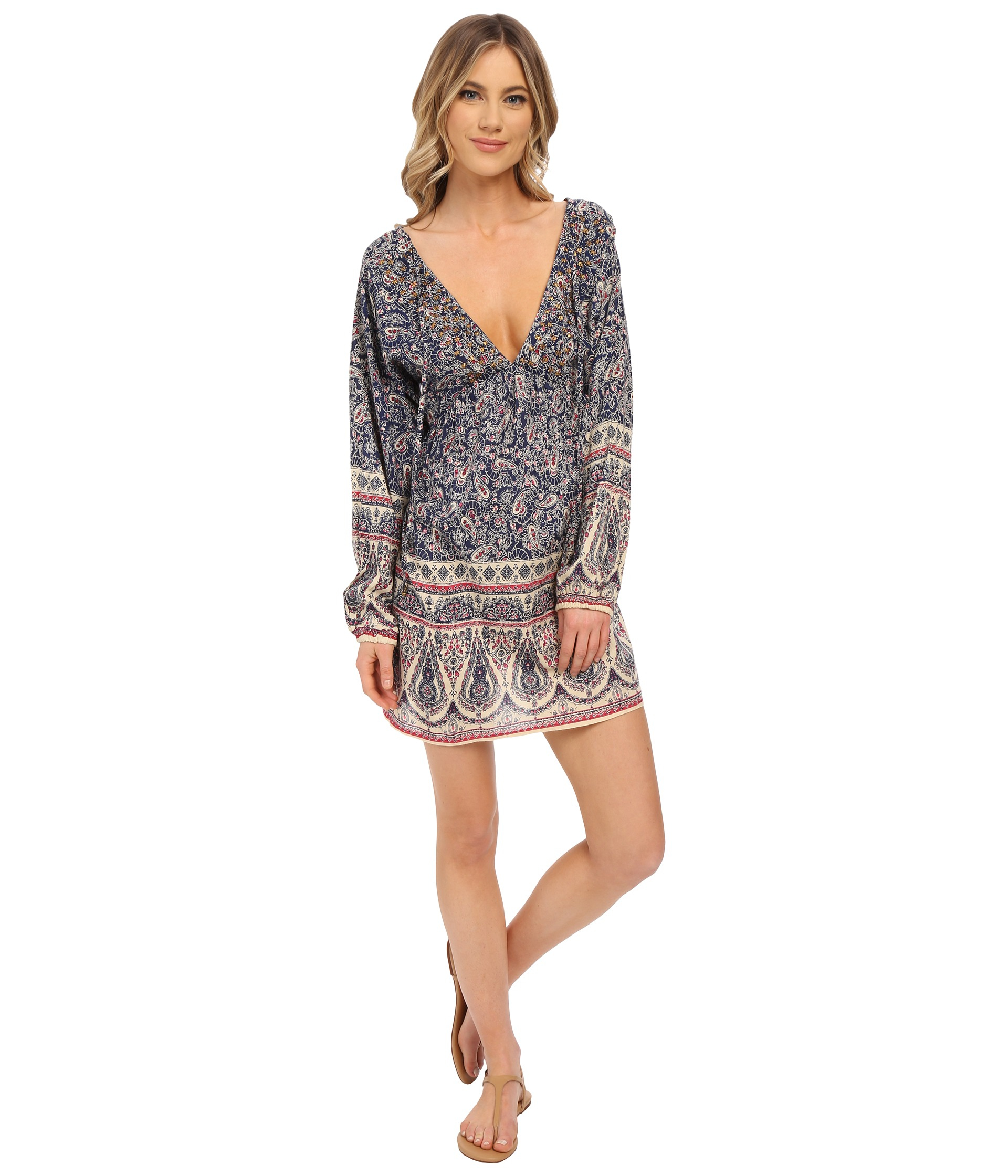 Brigitte bailey Sadie Long Sleeve Dress With Open Back in Gray - Lyst