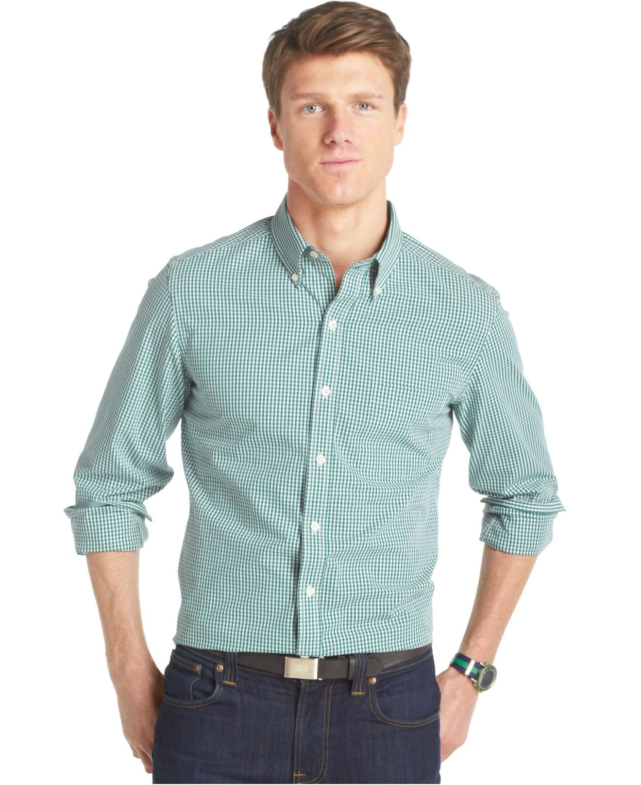 Lyst izod slim fit gingham shirt in green for men for Mens green gingham dress shirt