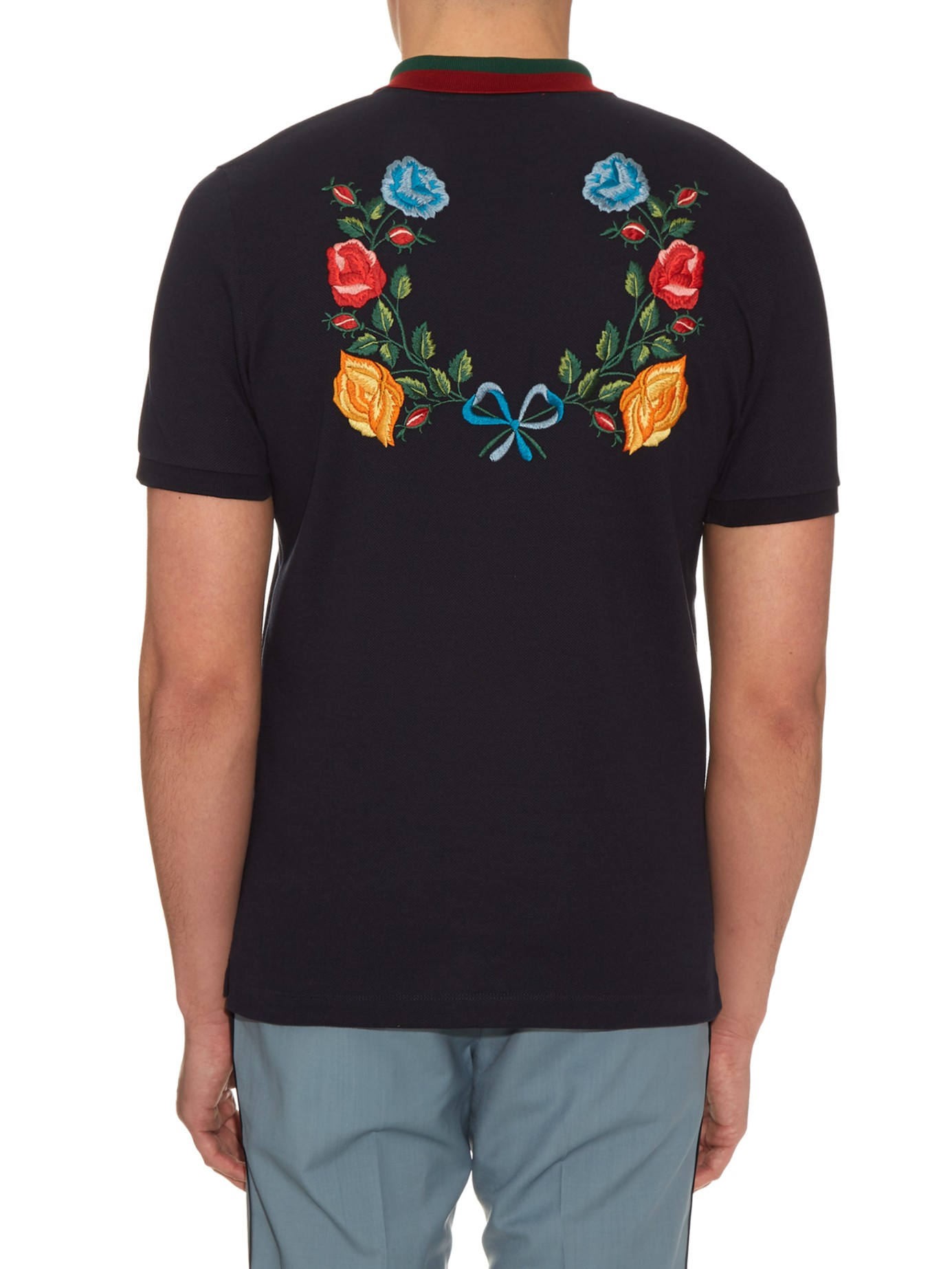 334a19c79259 Gucci Floral-embroidered Cotton-blend Polo Shirt in Black for Men - Lyst