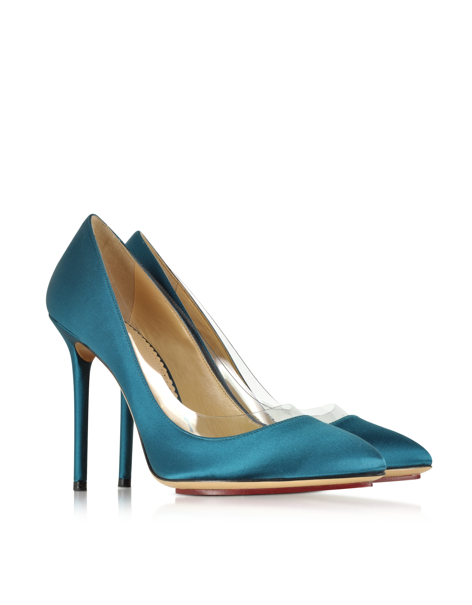 Charlotte Olympia Party Shoes 110 Teal Blue Satin Silk   Pvc Pump in ... 7471bbc19a54