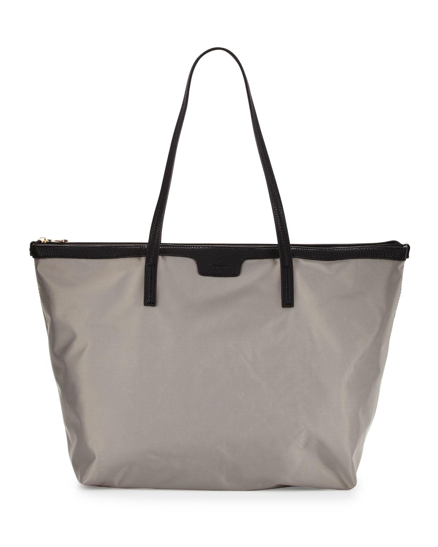 Neiman marcus Miley Nylon Zip-top Tote Bag in Gray | Lyst