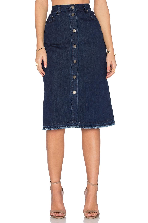 nicholas denim button up skirt in blue lyst