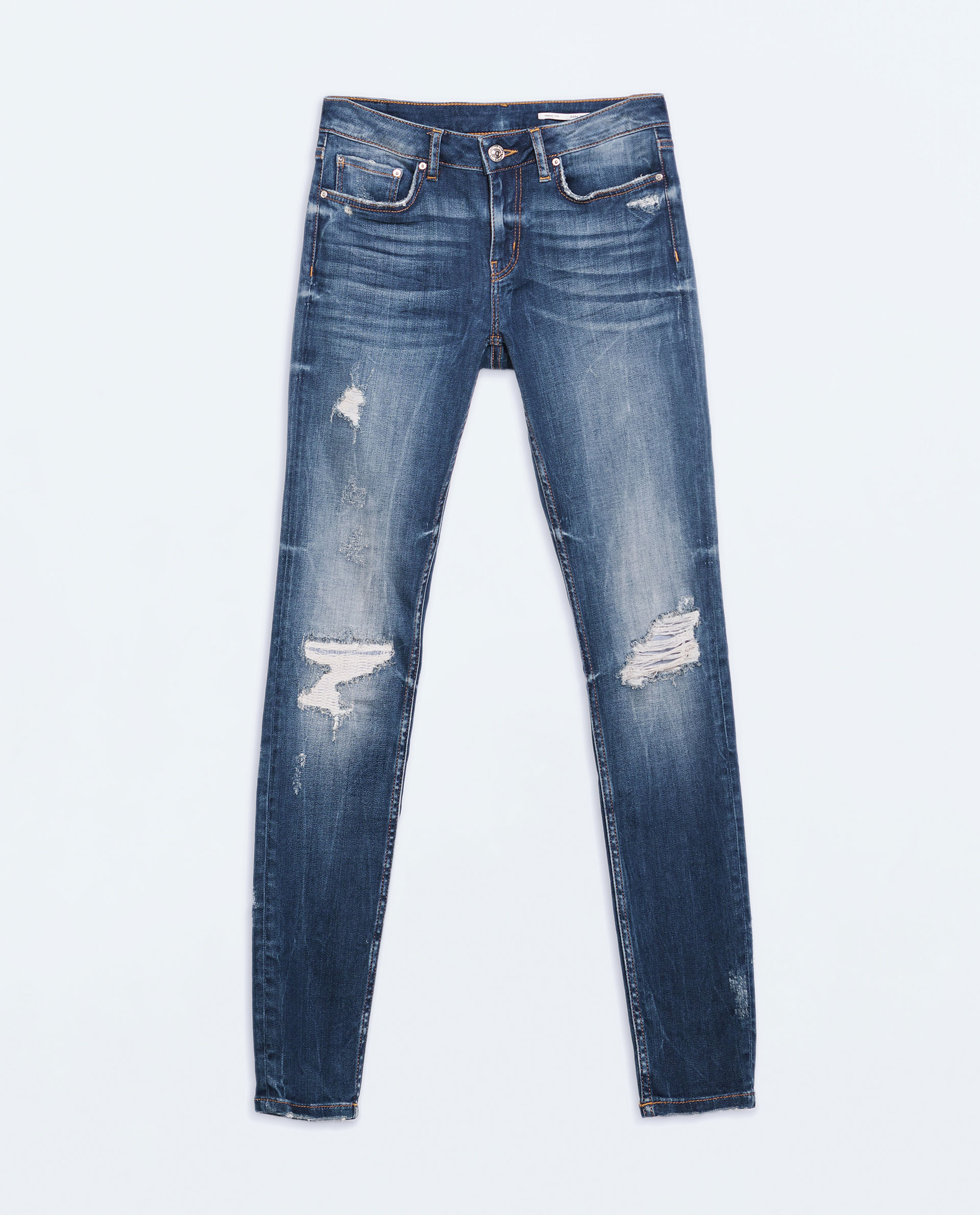 zara mid rise skinny jeans in blue lyst. Black Bedroom Furniture Sets. Home Design Ideas
