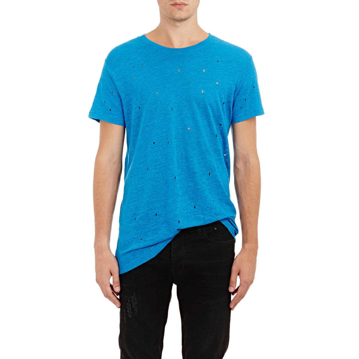 Iro distressed wase t shirt in blue for men lyst for How to make a distressed shirt