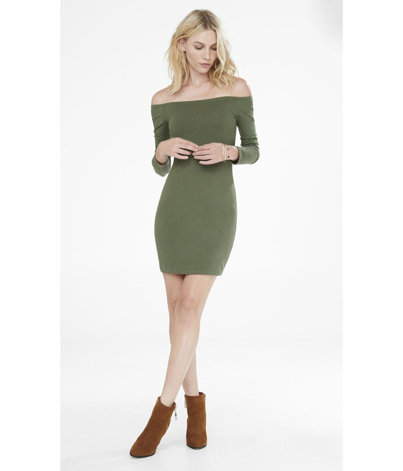 abb7704022ea Lyst - Express Olive Fitted Off The Shoulder Dress in Green