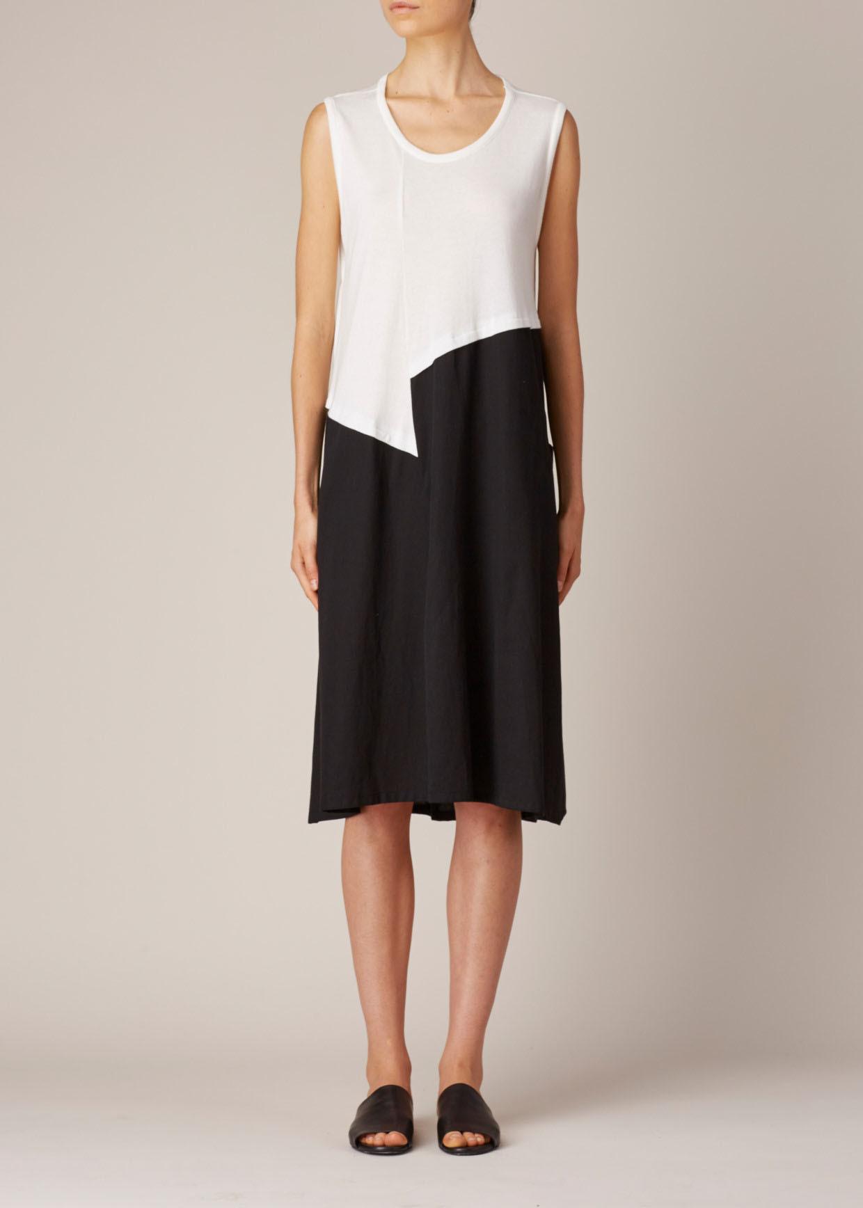 Y S Yohji Yamamoto White Black Yoke Tank Top Dress Lyst