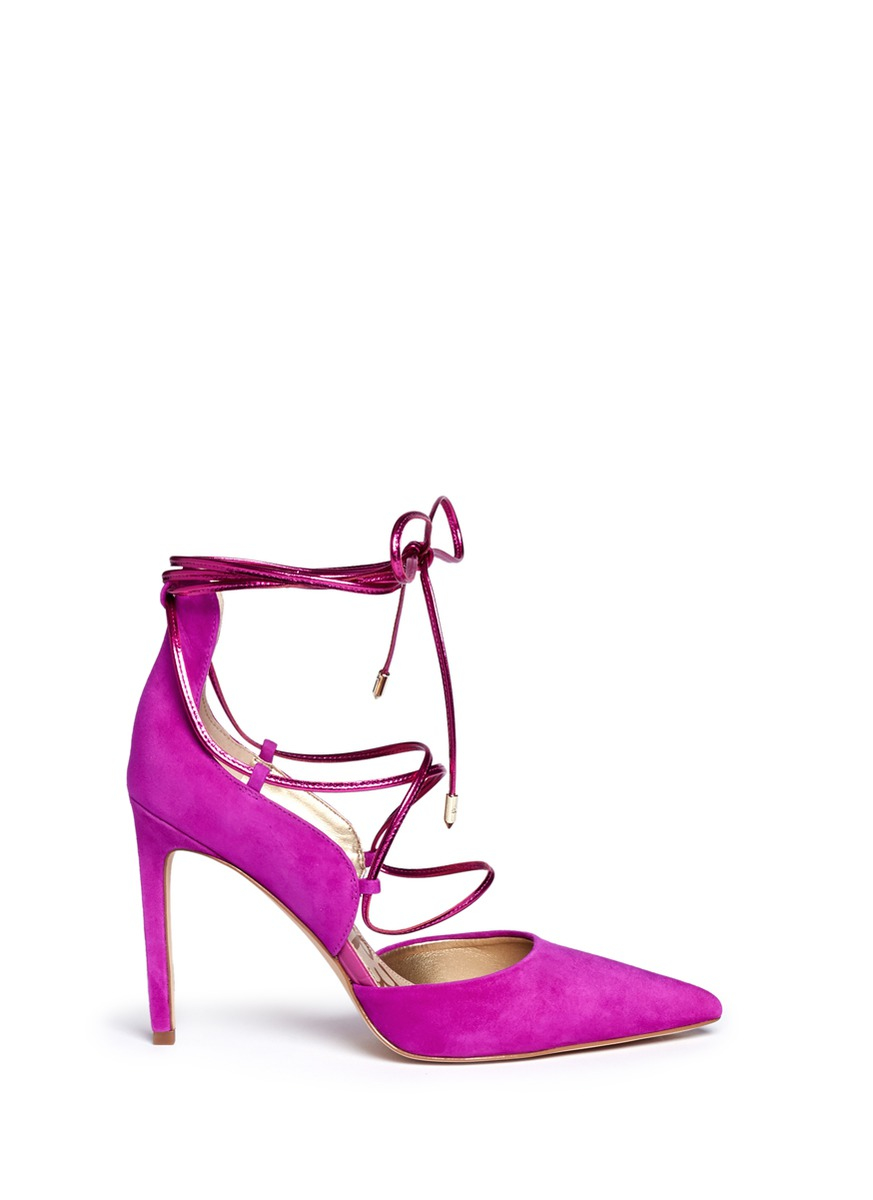 2a2a6c60f87c Sam Edelman  dayna  Suede Lace-up Pumps in Pink - Lyst