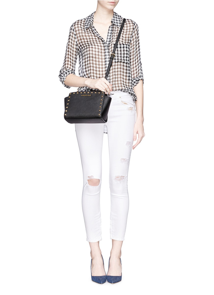 ... messenger in pale pink 86a9c 32740  denmark lyst michael kors selma  studded saffiano leather cross body bag in 838a6 1235e 75110a5b02903