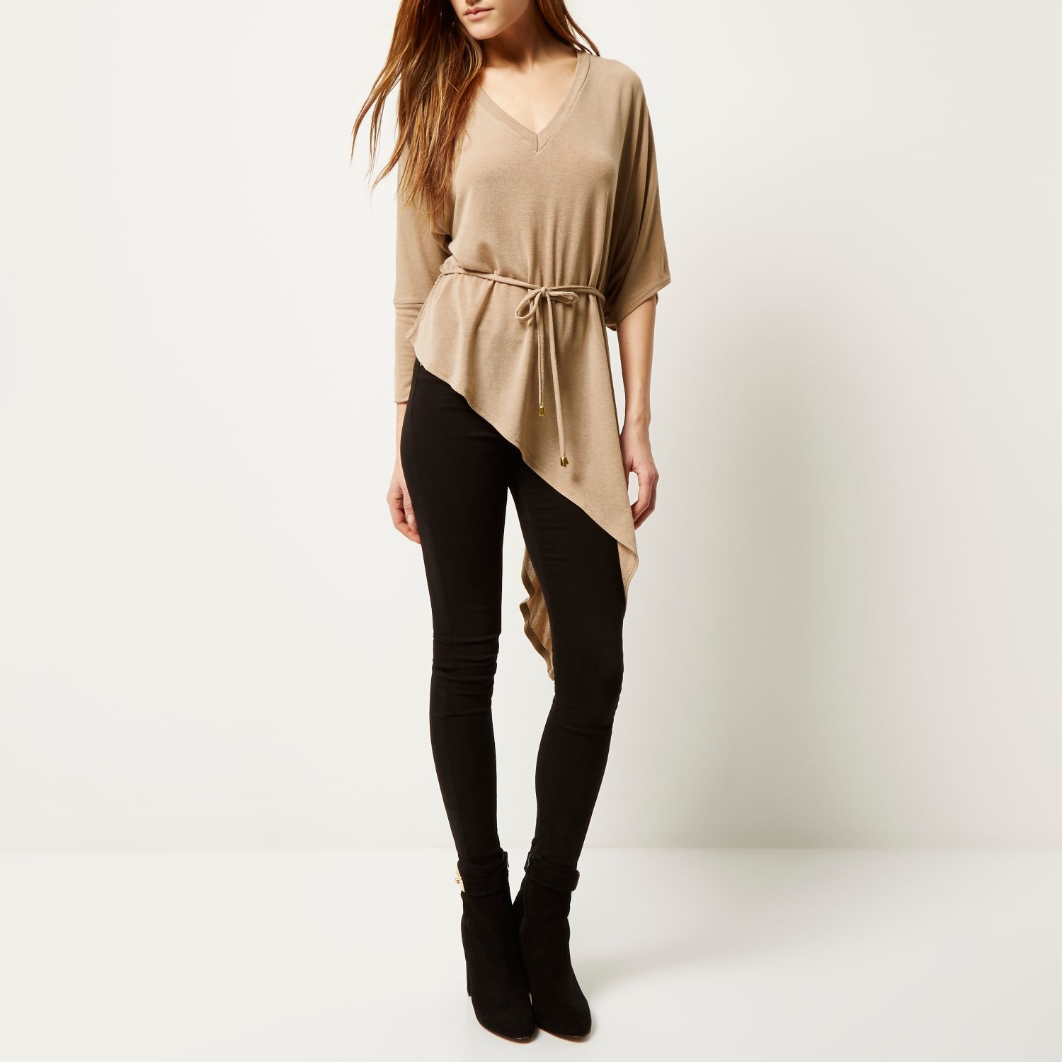 c5022ca88763e2 Lyst - River Island Beige Belted V-neck Asymmetric Knitted Top in ...