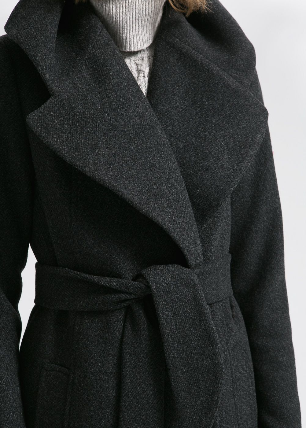 Mango Wide Lapel Wool Blend Coat in Black | Lyst