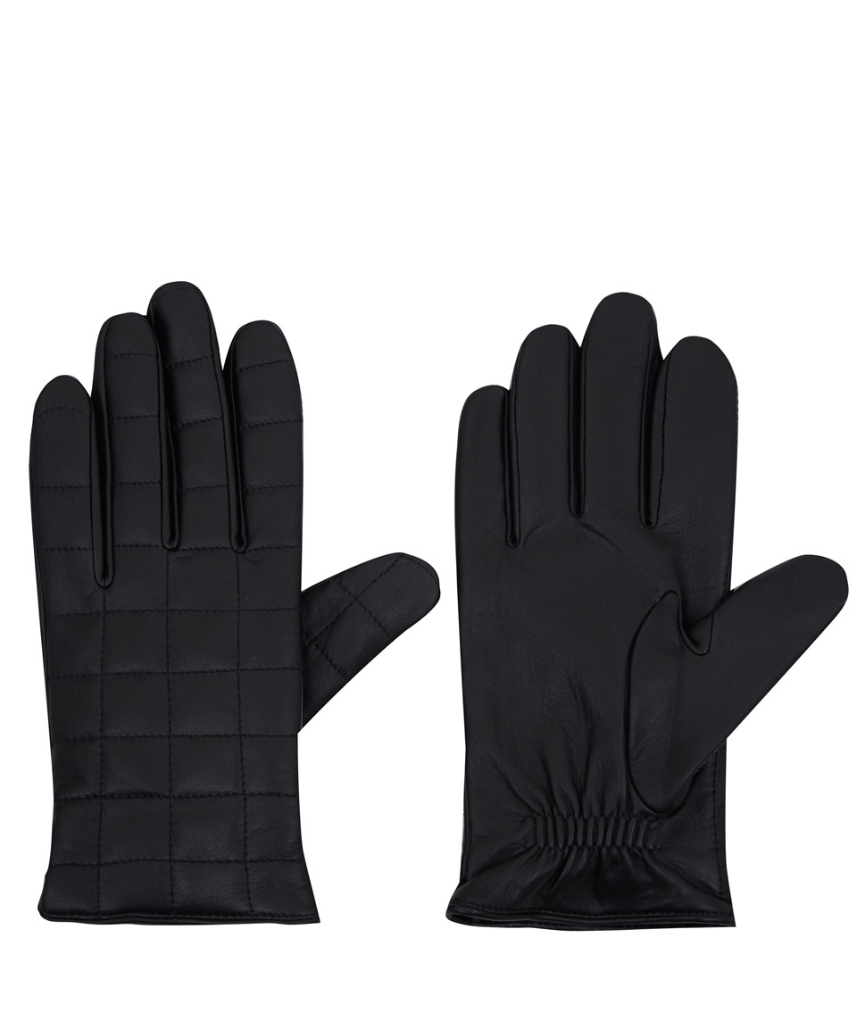 Mens leather gloves rabbit fur lined - Agnelle Black Quilted Leather Gloves In For Men Lyst