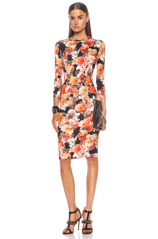 Lyst Givenchy Long Sleeve Floral Print Viscose Blend Dress