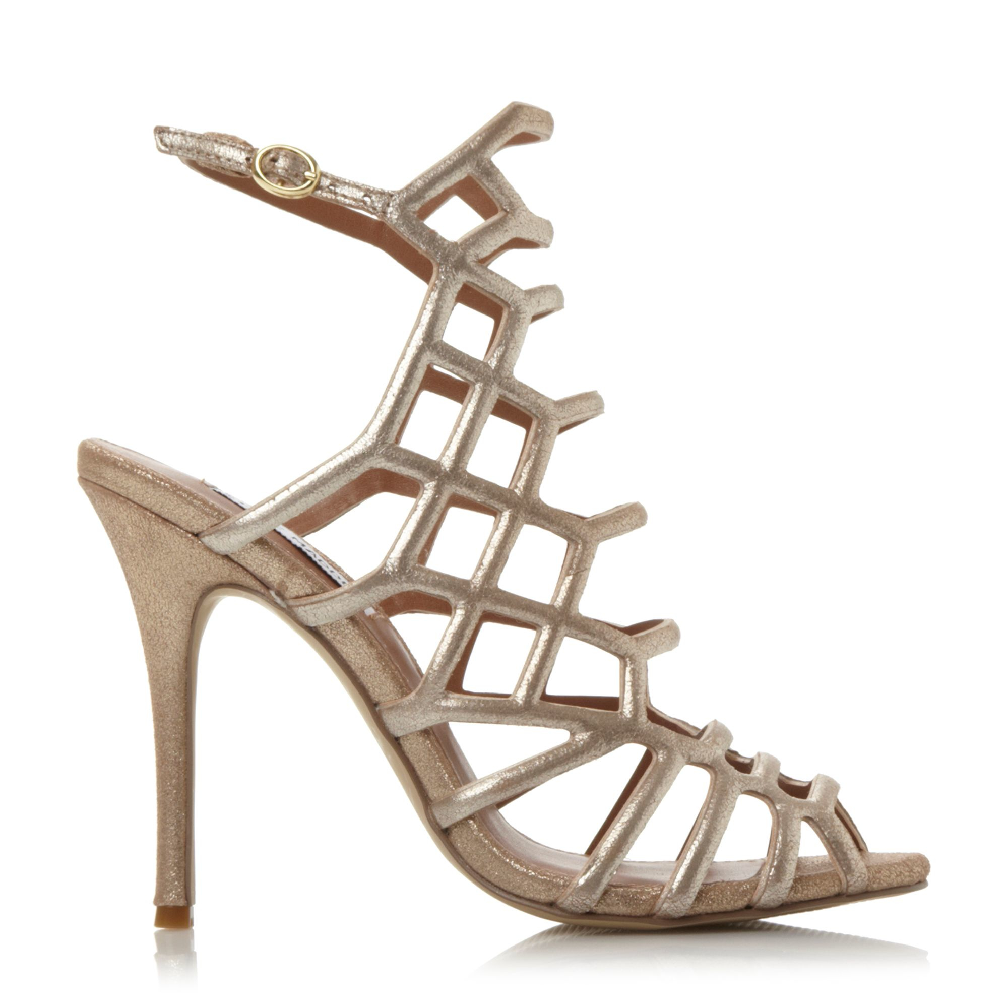Steve madden Slither Caged Heel Sandals in Metallic  Lyst