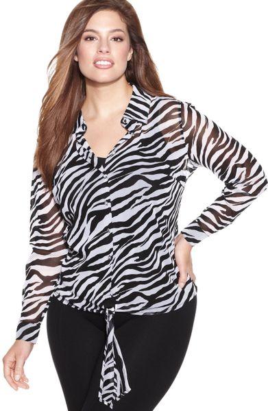 Zebra Print Plus Size Blouse 5