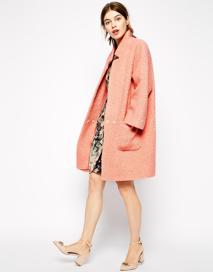Ganni Poodle Coat In Pink in Pink | Lyst