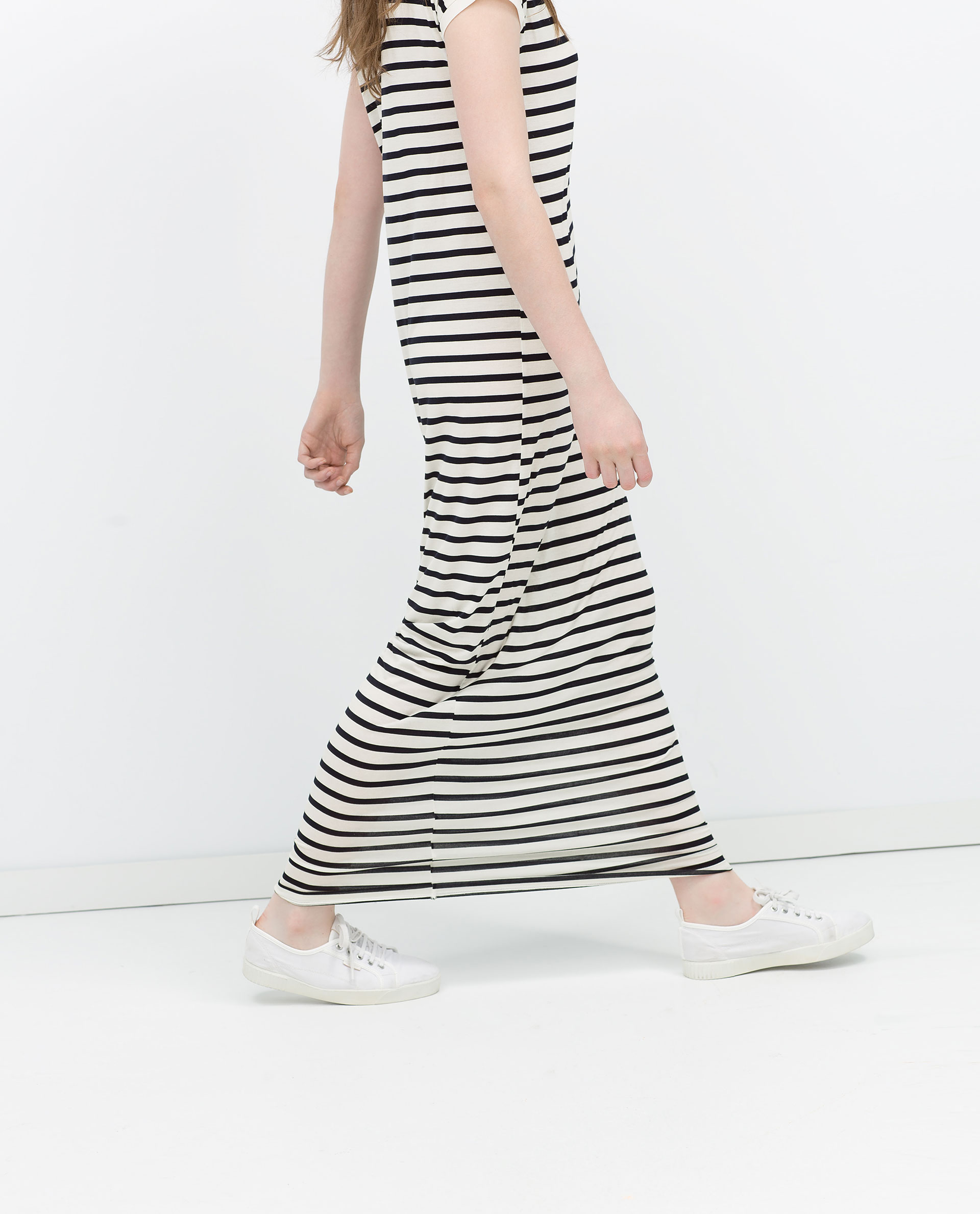 Zara Long Striped Dress in Blue | Lyst