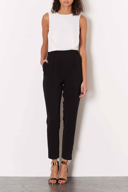 49420ccbe00f Lyst - TOPSHOP Petite Lace Back Jumpsuit in Black
