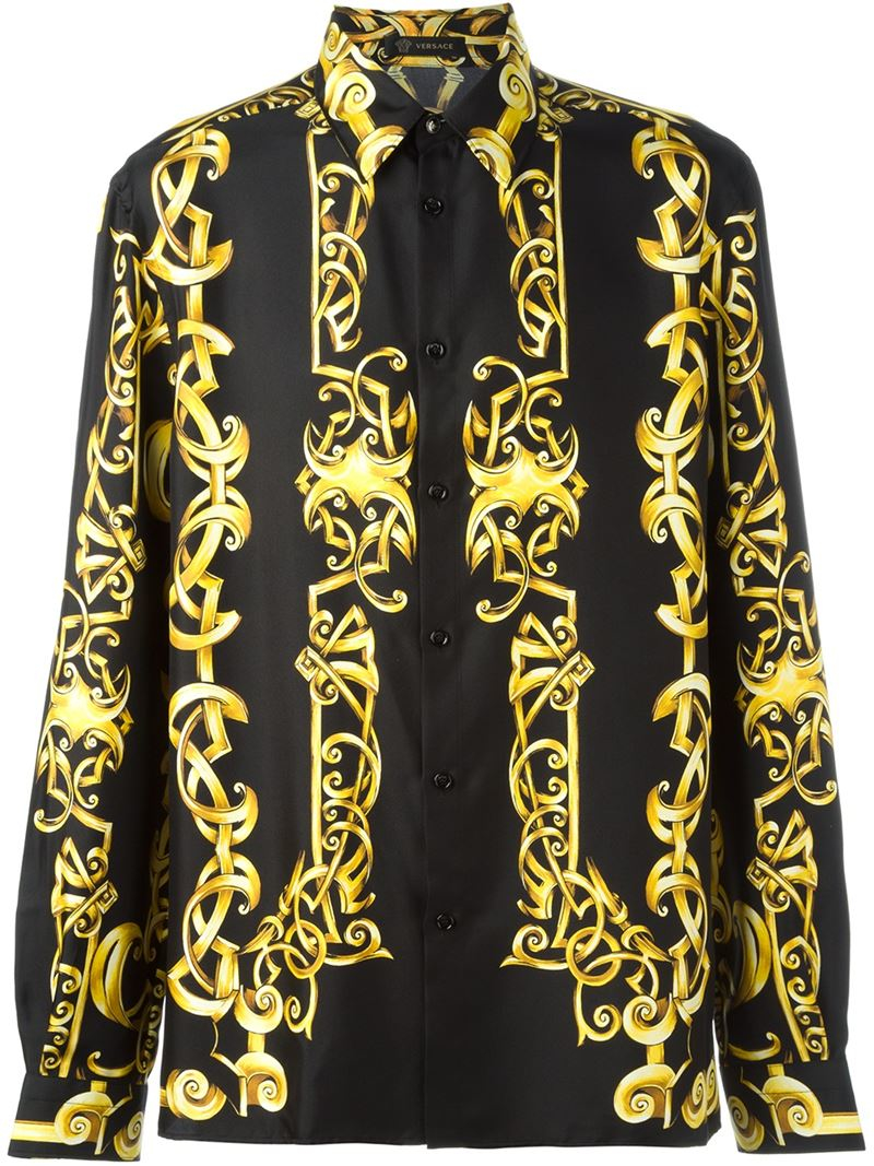 versace baroque print shirt in black lyst. Black Bedroom Furniture Sets. Home Design Ideas
