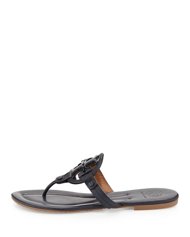 108568106 Lyst - Tory Burch Miller 2 Logo Leather Flat Sandal in Blue