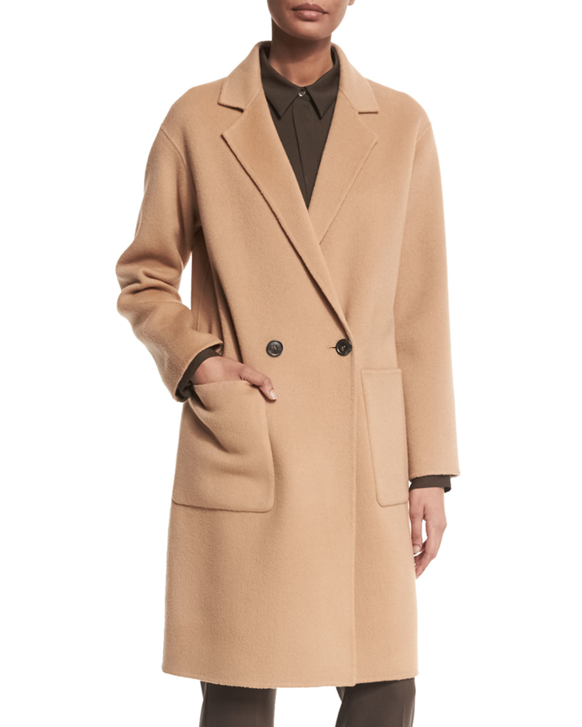 Lyst Theory Cerlita Double Face Wool Cashmere Coat In