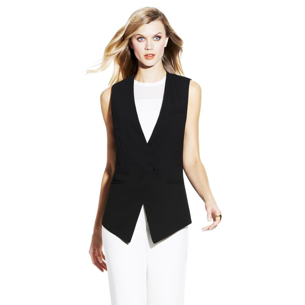 Vince Camuto Angled Front Vest In Black Rich Black Lyst