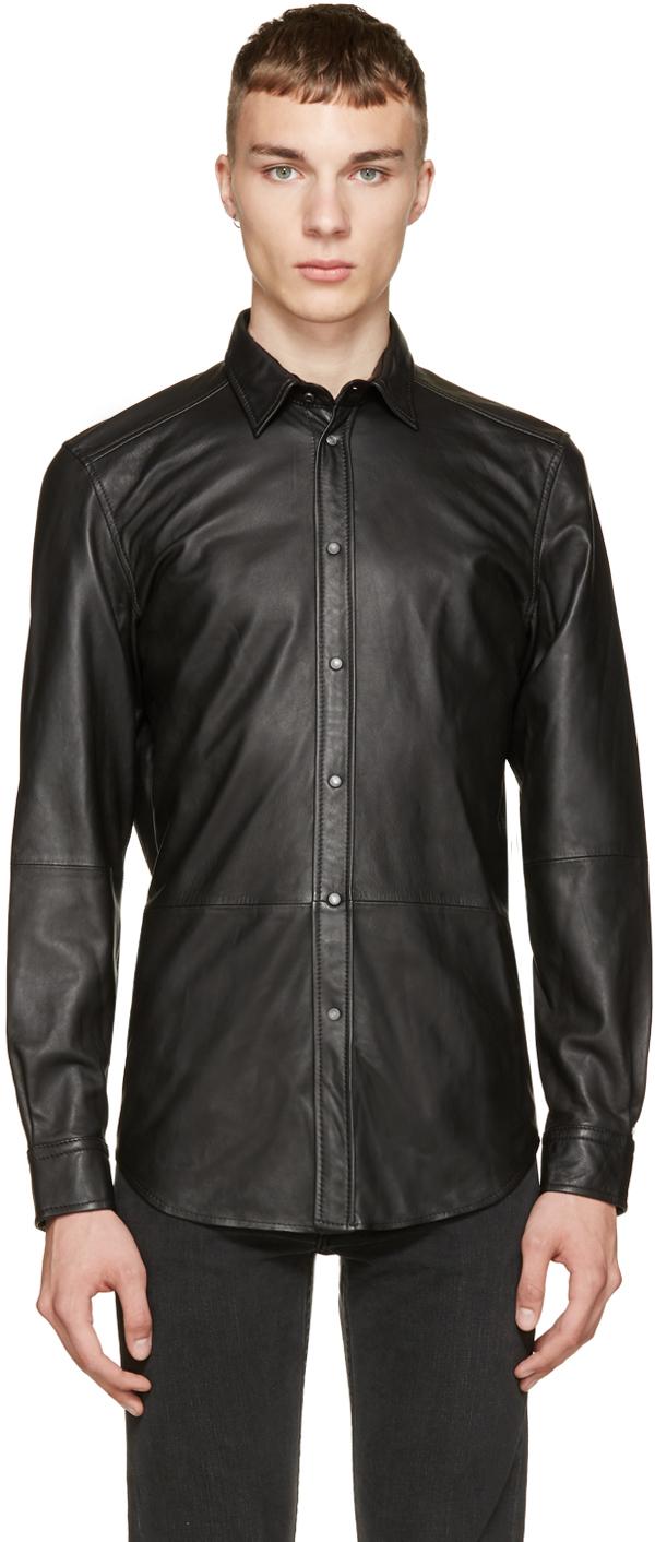 Lyst Diesel Black Leather Shirt In Black For Men
