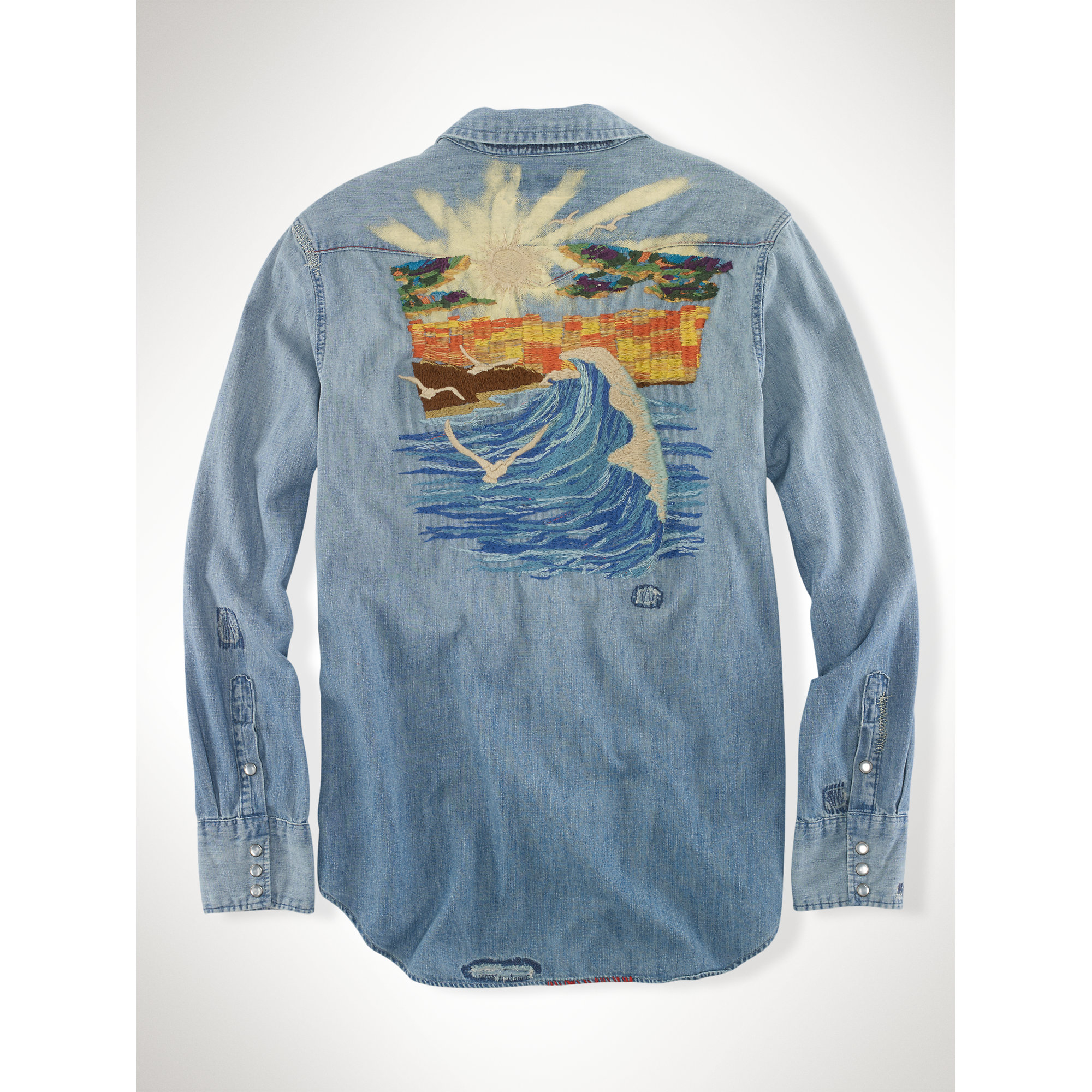 Polo ralph lauren embroidered denim workshirt in blue for for Embroidered work shirts online