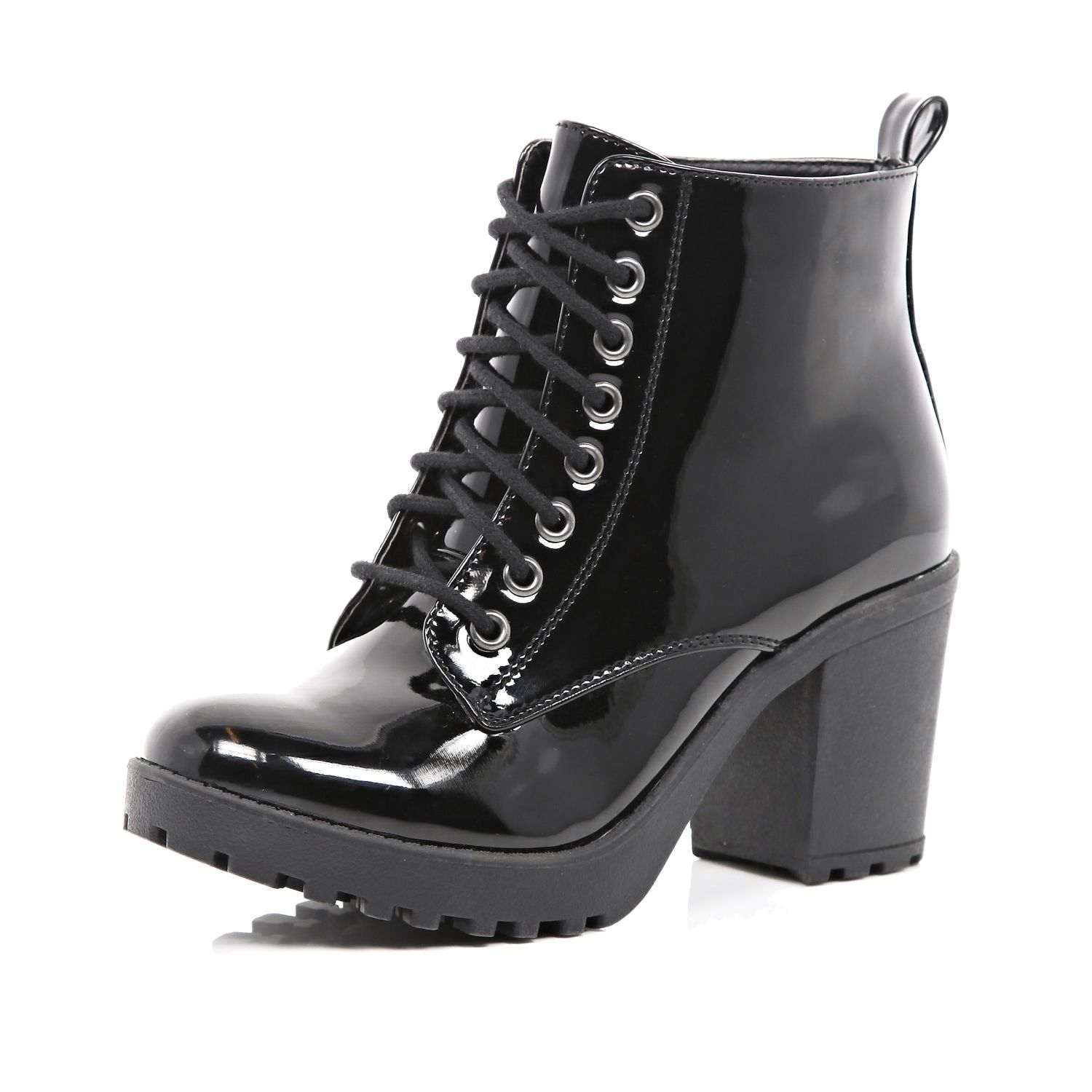 River island Black Patent Lace Up Block Heel Ankle Boots in Black ...