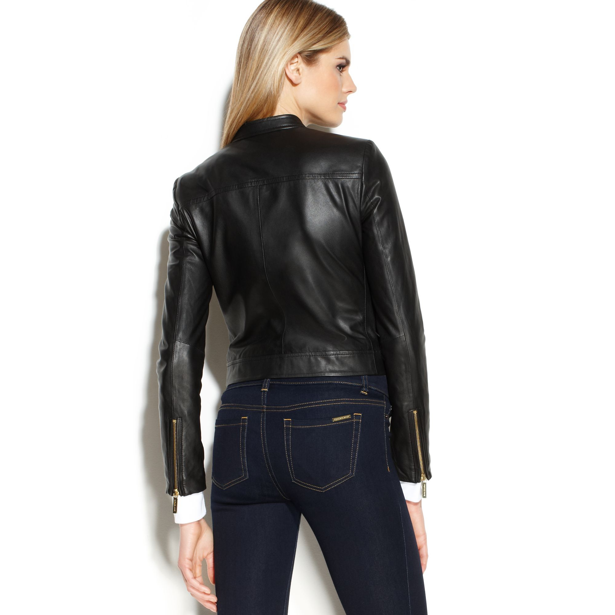f8040a770114 Lyst - Michael Kors Michael Cropped Leather Moto Jacket in Black