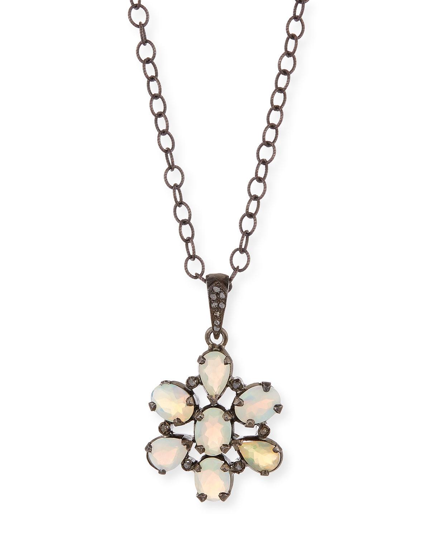Siena jewelry Opal Diamond Flower Pendant Necklace in Metallic