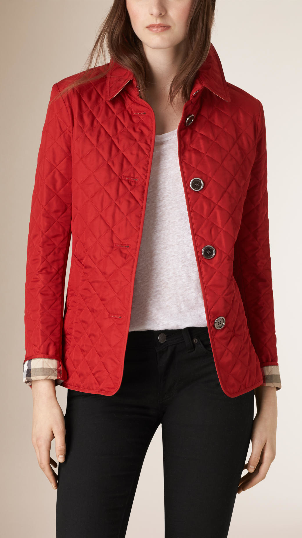 Burberry Diamond Quilted Jacket In Military Red Red Lyst