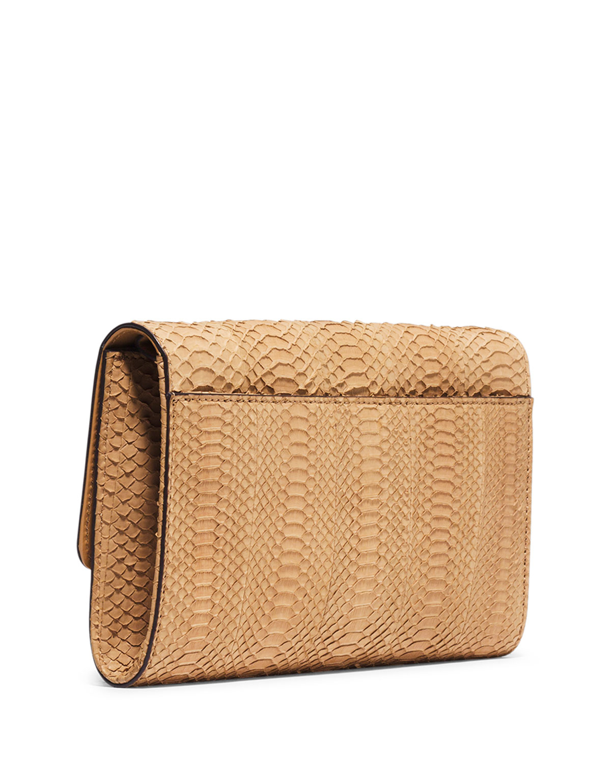 michael kors gia sueded snake clutch bag with lock in brown lyst. Black Bedroom Furniture Sets. Home Design Ideas